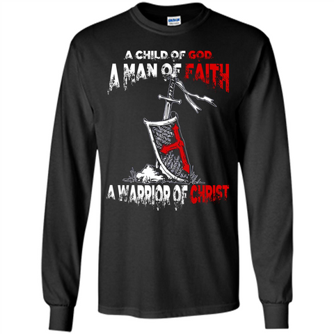 Christian T-shirt A Child Of God A Man Of Faith T-shirt Black / S LS Ultra Cotton Tshirt - WackyTee