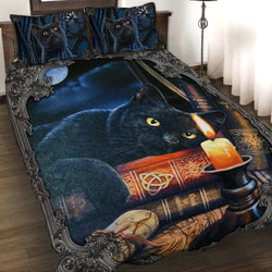 Witching Hour Black Cat Halloween 3D Quilt Set