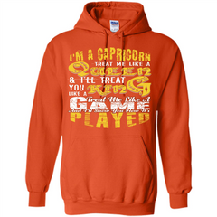 Capricorn T-shirt Im A Caprion Treat Me Like A Queen Pullover Hoodie 8 oz - WackyTee