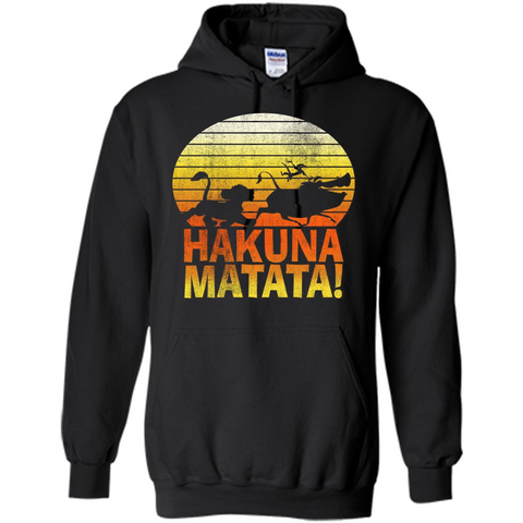 Cartoon T-shirt The Lion King Hakuna Matata Black / S Pullover Hoodie 8 oz - WackyTee