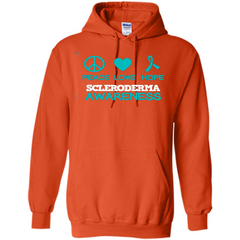 Scleroderma Awareness Ribbon Support T-shirt Peace Love Hope T-shirt Pullover Hoodie 8 oz - WackyTee