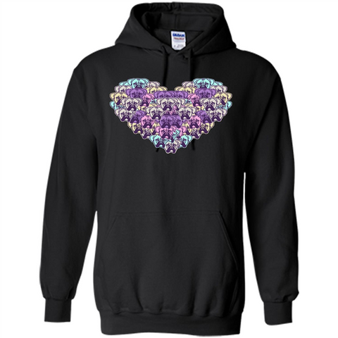 Boxer Dog Heart Mosaic Dog Lover T-shirt Black / S Pullover Hoodie 8 oz - WackyTee