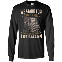 Military T-Shirt  We Stand For The Flag  We Kneel For The Fallen