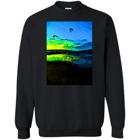 Yellow Dance Of The Tropical Blue Sea And Green Sky T-shirt Black / S Printed Crewneck Pullover Sweatshirt 8 oz - WackyTee
