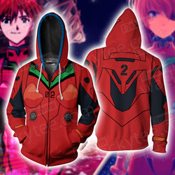 Shin Seiki Evangelion Soryu Asuka Langley Cosplay Zip Up Hoodie Jacket