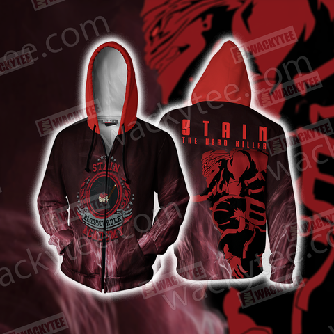 My Hero Academia Stain Bloodcurdle Academy Zip Up Hoodie