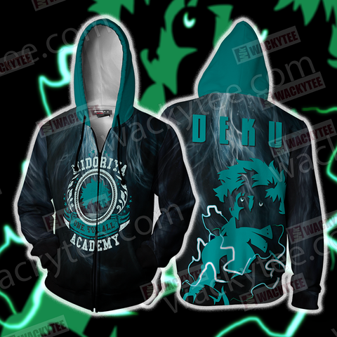Boku No Hero Academia Izuku Midoriya Zip Up Hoodie Jacket US/EU XXS (ASIAN S) Fullprinted Zip Up Hoodie - WackyTee