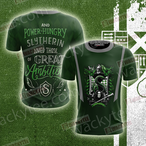 And Power-Hungry Slytherin Loved Those Of Great Ambition Unisex 3D T-shirt US/EU S (ASIAN L) Fullprinted Unisex 3D T-shirt - WackyTee