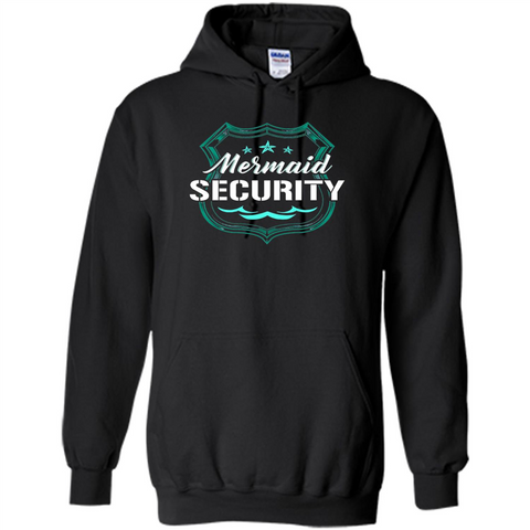 Mermaid Security T-shirt Black / S Pullover Hoodie 8 oz - WackyTee