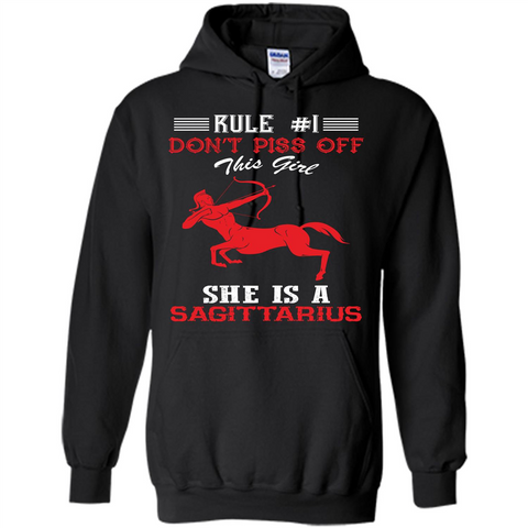 Sagittarius T-shirt Rule Dont Piss Off This Girl T-shirt Black / S Pullover Hoodie 8 oz - WackyTee
