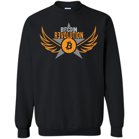 Bitcoin T-shirt Cool Cryptocurrency Revolution BTC Logo T-shirt Black / S Printed Crewneck Pullover Sweatshirt 8 oz - WackyTee