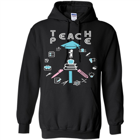 Teacher T-shirt Teach P.E T-shirt Black / S Pullover Hoodie 8 oz - WackyTee