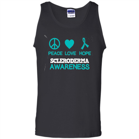 Scleroderma Awareness Ribbon Support T-shirt Peace Love Hope T-shirt Black / S Tank Top - WackyTee