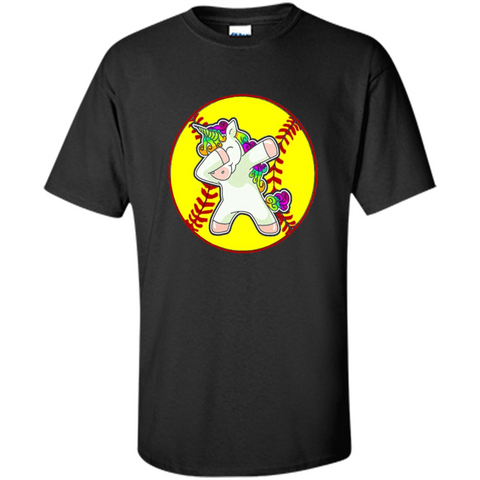 Unicorn Dabbing Softball T-shirt Black / S Custom Ultra Cotton - WackyTee