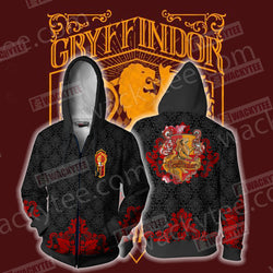 Brave Like A Gryffindor Harry Potter Wacky Style Zip Up Hoodie