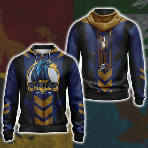 Harry Potter - Ravenclaw House Sporty Style Unisex Zip Up Hoodie US/EU XXS (ASIAN S) Fullprinted Zip Up Hoodie - WackyTee