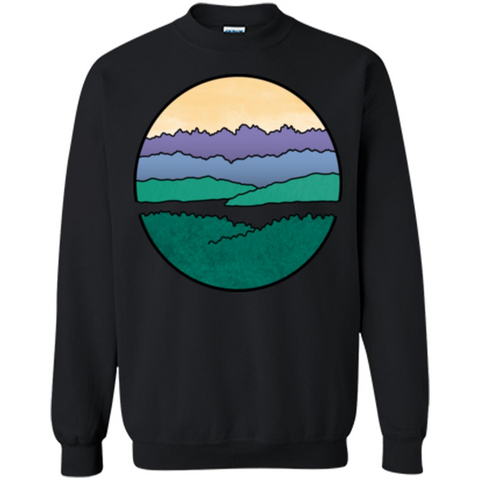 Mountains Over The Sound T-shirt Black / S Printed Crewneck Pullover Sweatshirt 8 oz - WackyTee