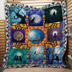 Cat Watching The Moon 3D Quilt Blanket