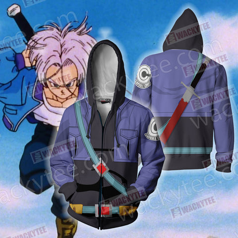 Dragon Ball Trunks Cosplay Zip Up Hoodie Jacket US/EU XXS (ASIAN S) Fullprinted Zip Up Hoodie - WackyTee