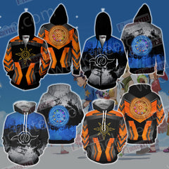 Digimon The Crest Of Friendship New Look Unisex Zip Up Hoodie Jacket Fullprinted Zip Up Hoodie - WackyTee