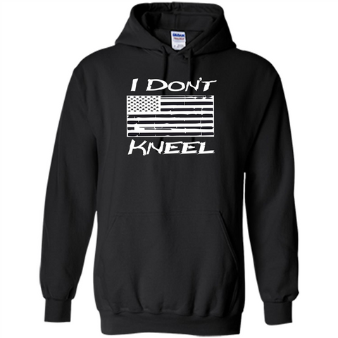 Military T-shirt I Don't Kneel Patriotic Flag T-shirt Black / S Pullover Hoodie 8 oz - WackyTee