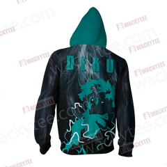 Boku No Hero Academia Izuku Midoriya Zip Up Hoodie Jacket Fullprinted Zip Up Hoodie - WackyTee
