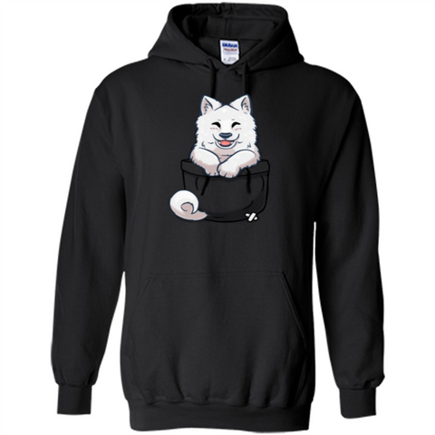 Pocket Samoyed T-shirt Cute Samoyed tshirt Black / S Pullover Hoodie 8 oz - WackyTee