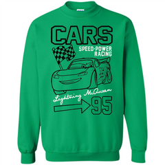 Pixar Cars McQueen Speed Power Racing 95 T-shirt Printed Crewneck Pullover Sweatshirt 8 oz - WackyTee