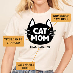 Cat Mom Family Members ( Customized Name or Number ) T-Shirt