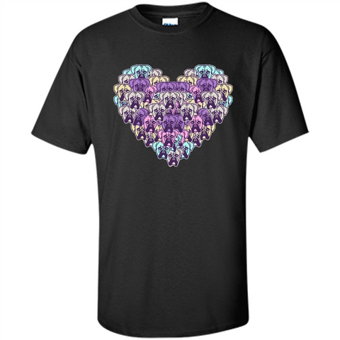 Boxer Dog Heart Mosaic Dog Lover T-shirt Black / S Custom Ultra Cotton - WackyTee