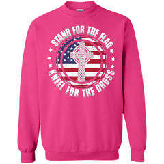 Stand For The Flag Knell For The Cross T-shirt Printed Crewneck Pullover Sweatshirt 8 oz - WackyTee