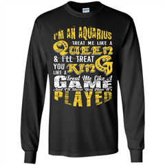 Aquarius T-shirt Im An Aquarius Treat Me Like A Queen LS Ultra Cotton Tshirt - WackyTee