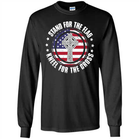 Stand For The Flag Knell For The Cross T-shirt Black / S LS Ultra Cotton Tshirt - WackyTee