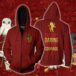 Bravery Daring Chivalry Courage Gryffindor Harry Potter Zip Up Hoodie