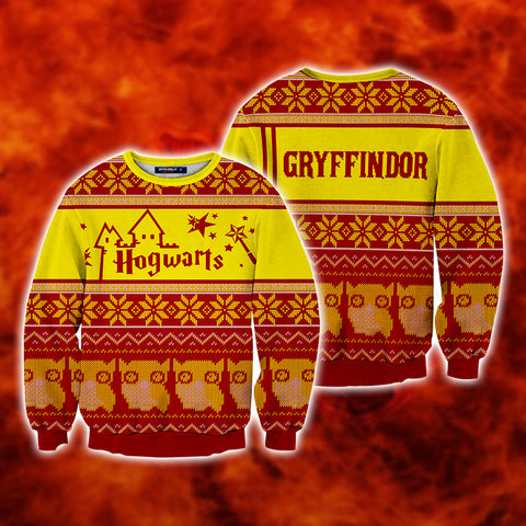 902c05824 Gryffindor Harry Potter Ugly Christmas 3D Sweater US/EU S Fullprinted 3D  Sweater - WackyTee