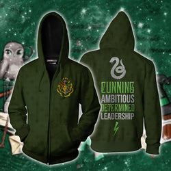 Cunning Ambitious Determined Leadership Slytherin Harry Potter Zip Up Hoodie