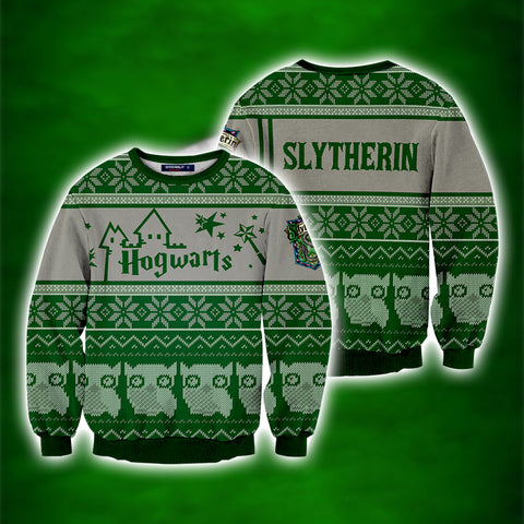 32566e4d4 Slytherin Harry Potter Ugly Christmas 3D Sweater US/EU S Fullprinted 3D  Sweater - WackyTee