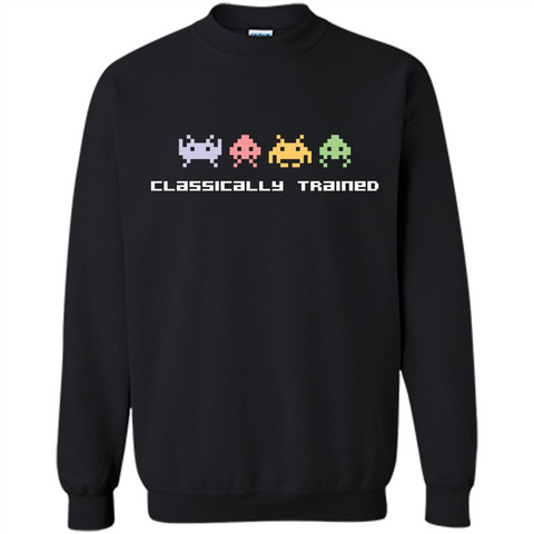 Video Games T-shirt Classically Trained 80s Video Games Black / S Printed Crewneck Pullover Sweatshirt 8 oz - WackyTee