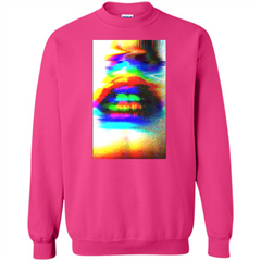 Glitch Art Lips T-shirt Printed Crewneck Pullover Sweatshirt 8 oz - WackyTee