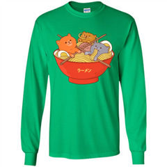 Ramen Noodles And Cats T-shirt LS Ultra Cotton Tshirt - WackyTee