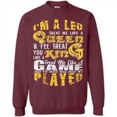 Leo T-shirt Im A Leo Treat Me Like A Queen Ill Treat You Printed Crewneck Pullover Sweatshirt 8 oz - WackyTee