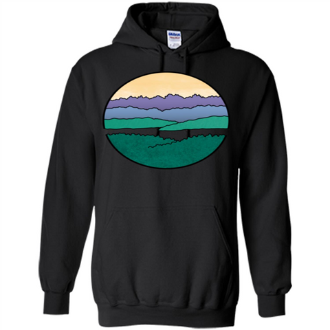 Mountains Over The Sound T-shirt Black / S Pullover Hoodie 8 oz - WackyTee
