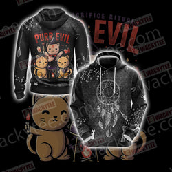 Humans Sacrifice Ritual Purr Evil Cat Unisex 3D Hoodie
