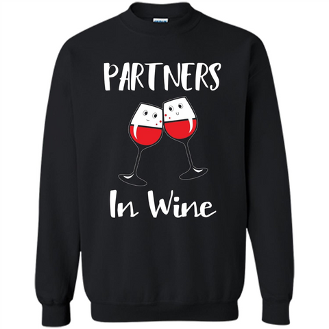 Wine Party T-shirt Partners In Wine T-shirt Black / S Printed Crewneck Pullover Sweatshirt 8 oz - WackyTee