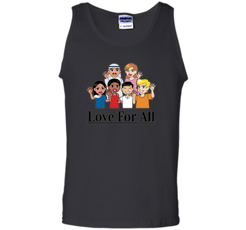 Love For All- Multicultural Race Unity Diversity T-Shirt cool shirt Black / S Tank Top - WackyTee