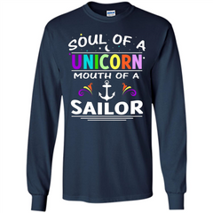 Unicorn Sailor T-shirt Soul Of A Unicorn Mouth Of A Sailor T-shirt LS Ultra Cotton Tshirt - WackyTee