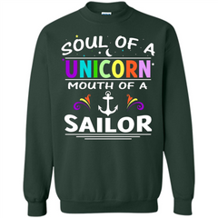 Unicorn Sailor T-shirt Soul Of A Unicorn Mouth Of A Sailor T-shirt Printed Crewneck Pullover Sweatshirt 8 oz - WackyTee