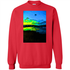 Yellow Dance Of The Tropical Blue Sea And Green Sky T-shirt Printed Crewneck Pullover Sweatshirt 8 oz - WackyTee