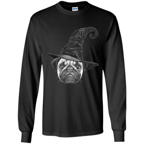 Pug Lover T-shirt Pug In Witch Hat Halloween T-Shirt Black / S LS Ultra Cotton Tshirt - WackyTee