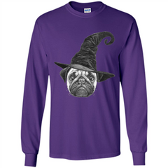 Pug Lover T-shirt Pug In Witch Hat Halloween T-Shirt LS Ultra Cotton Tshirt - WackyTee